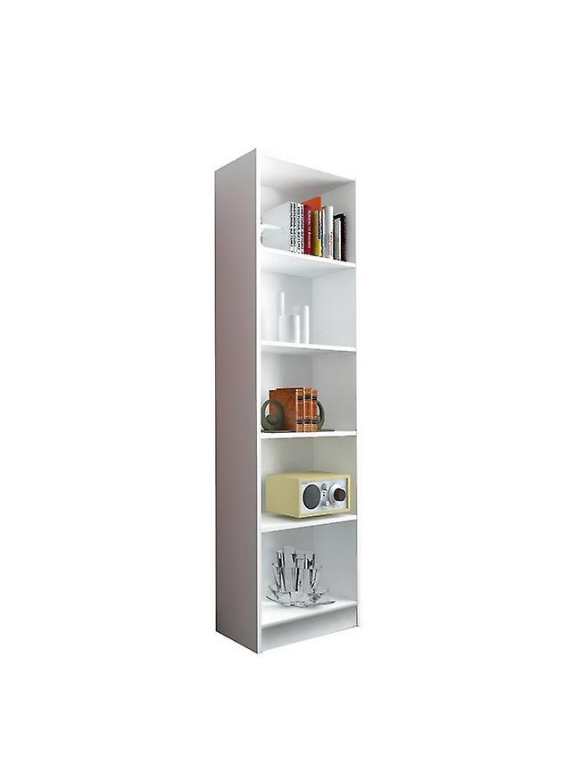 Bibliothèque blanche couleur milanienne en puce melaminique, plastique, fer 57x25x186 cm
