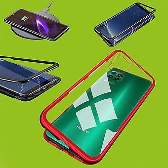 Für Samsung Galaxy M30s M307F / M21 M215F Magnet / Metall / Glas Case Bumper Transparent / Rot Tasche Hülle Neu