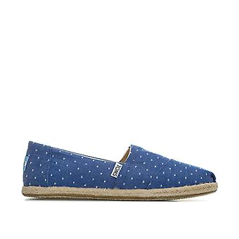 Women's Toms Classics Dot Chambray Espadrille Pumps in Blue