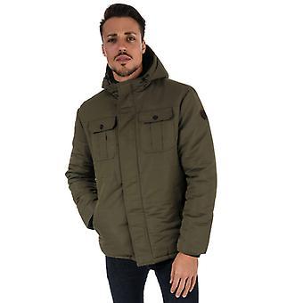 Men's Crosshatch Black Label Beekham Hooded Parka Jacket in Green