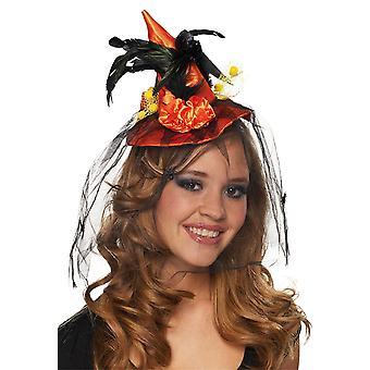 Witch Hat blomma pannband orange hatt tillbehör Carnival Halloween häxa