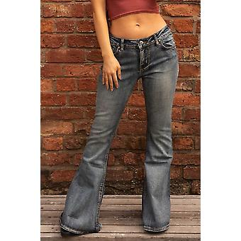 70s Style Faded Bell-Bottom Wide Flared Jeans