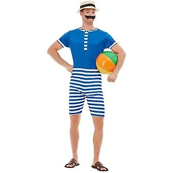 20s Bathing Suit Costume Adult Blue / White