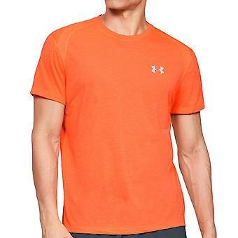 Under Armour Mens Streaker Crew Neck Gym Fitness Training T-Shirt Tee Top Orange