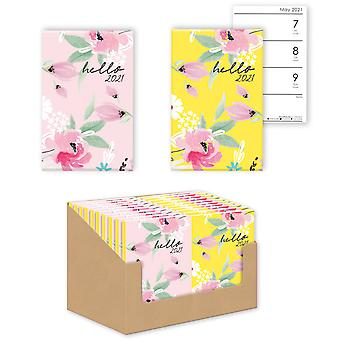 A7 Hello 2021 Pink Floral Design Hard Cover Week to View Mini Pocket Diary