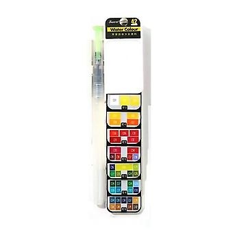 Solid Watercolor Foldable Fan Shaped Portable Paint Set For Easy Carrying