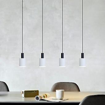 Virgo 4 Light Black-White Pendant - Rectangle Canopy