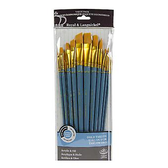 Royal & Langnickel Gold Taklon Assorted Long Handle Paint Brush Set of 12