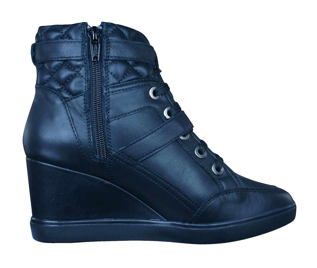 Geox D Eleni C Womens Nappa skinn kile trenere / støvler - Black