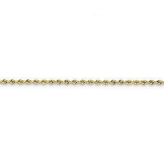 14k žlté zlato pevné homáre pazúr uzavretie 2,5 mm ručné pravidelné lano reťaz členok náramok šperky Darčeky pre ženy-Le
