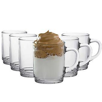 Duralex Versailles Tazas de Café de Vidrio - Copas de 260ml para Té, Bebidas Calientes - Claro - Pack de 6