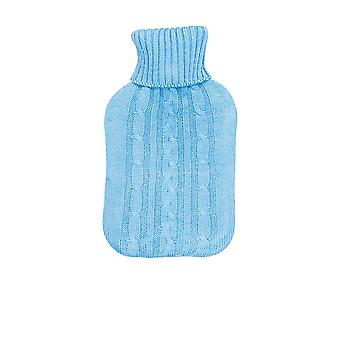 Full Size Hot Water Bottle With Knitted Cover - Baby Blue