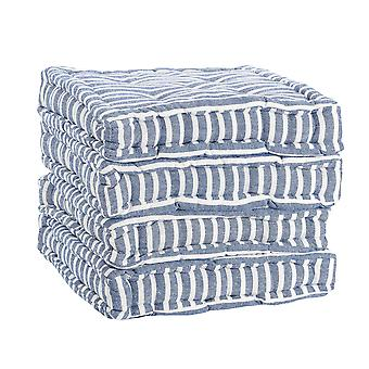 Nicola Spring Square Padded French Mattress Dining Chair Cushion Seat Pad - Blue Stripe - Pack of 4