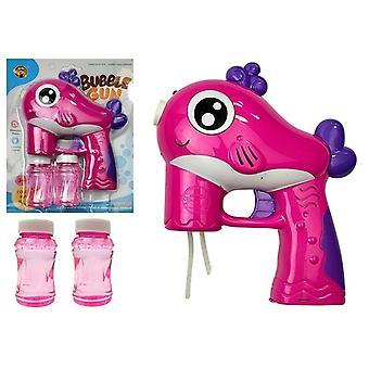 Bubble gun runs on batteries pink