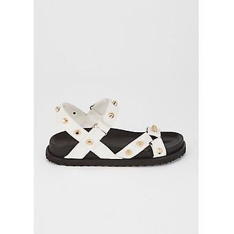 Tekonahka nasta chunky hihna sandaalit valkoinen