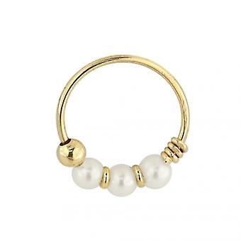 9K Yellow Gold Genuine Pearl Hoop Nose Ring