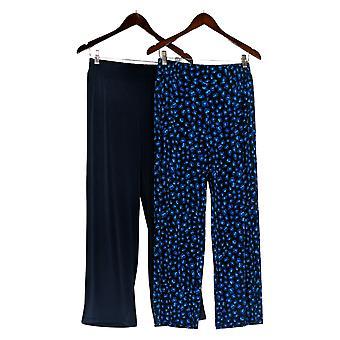 IMAN Global Chic Women's Pants Luxury Resort 2-Pack Palazzo Blue 685-966