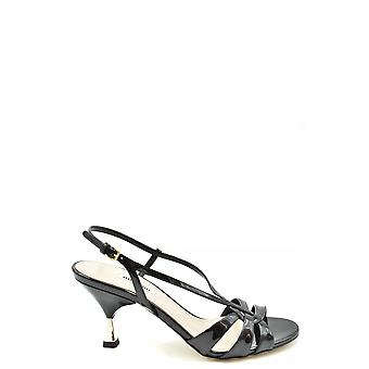 Miu Miu Ezbc057036 Women's Black Patent Leather Sandals