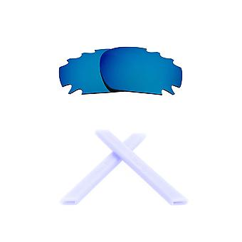 Replacement Lenses & Kit for Oakley Vented Racing Jacket Blue Mirror & White Anti-Scratch Anti-Glare UV400 by SeekOptics