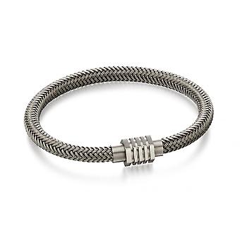Fred Bennett Grey Stainless Steel Woven Bracelet