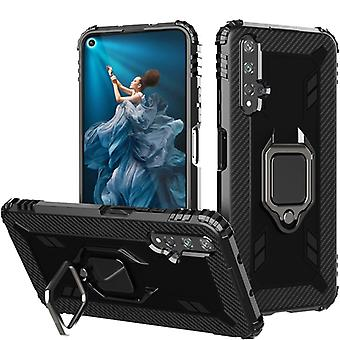 For Huawei Honor 20 / 20S / Nova 5T Carbon Fiber Protective Case with 360 Degree Rotating Ring Holder(Black)