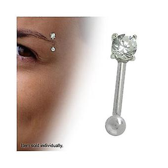 "Straight barbell 16g - 5/16"" (8mm) eyebrow ring with round clear cz gem"