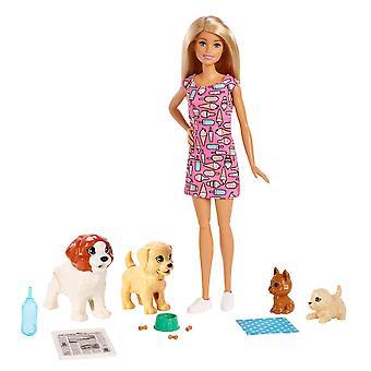 Barbie fxh08 psie škôlky bábika, blondínka a domáce zvieratá playset, s šteňa, ktoré hovno a ten, ktorý čúra, p