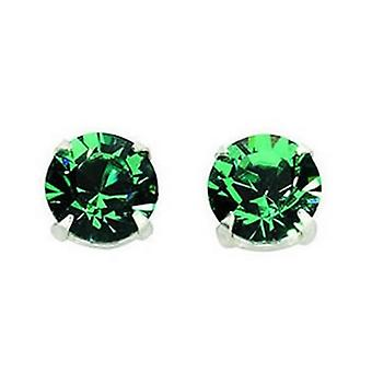 Sterling Silver Unisex Studs Earrings 2 Carat Swarovski Crystal - Fern Green