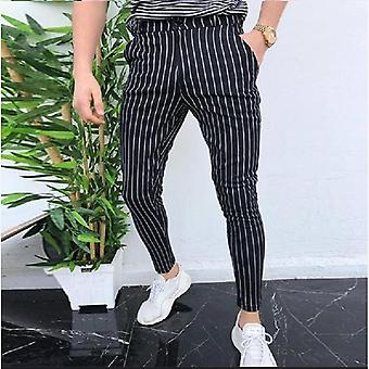 Plus Size Men's Pants, Striped Elastic, Casual Pencil Pant, Luxury Clothing