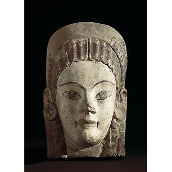 Antefix med kvinnlig figur Ca 530 f.Kr. - etruskiska konst skulptur Storbritannien London British Museum Proc Italien Cerveteri AisaEverett samling affisch Skriv ut