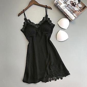 Nightgowns Sleepshirts Silk V-neck Encaje Homewear Set Summer Lingerie Bow