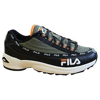Fila DSTR97 Black Olive Leather Textile Lace Up Mens Trainers 1010570 12Q