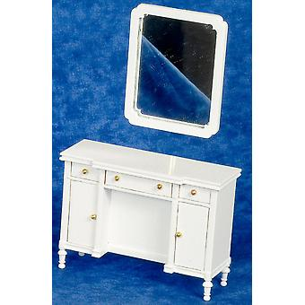 Dolls House White Shabby Chic Dressing Table Miniature Bedroom Furniture