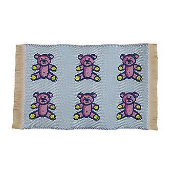 Dolls House Blue Teddy Bear Rug Mat Miniature Nursery Play Room Acessório 1:12