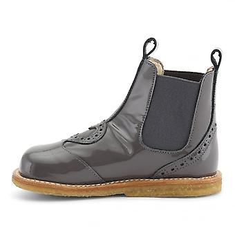 ANGULUS Grey Patent Chelsea Boot With Heart Detail