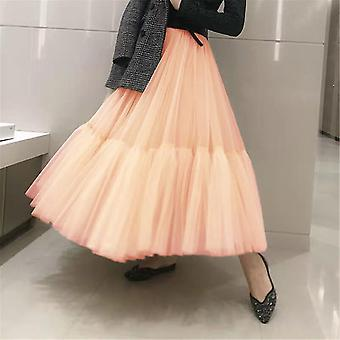 Runway Luxury Soft Tulle Hand-made Maxi Long Pleated Skirts
