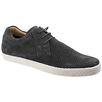 Base Keel Mens Leather Casual Shoes Dark Grey UK Size