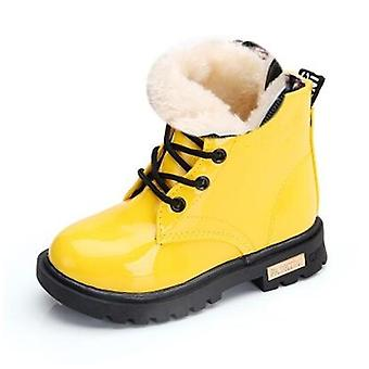 Kids Fashion Rubber Boot Leather Shoes  Waterproof