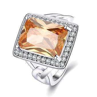 18k White Gold Plated Maeva Morganite Crystal Emerlad Cut Ring Made