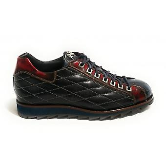 Herrskor Harris Sneaker Quilted Leather Ocean Blue/ Shade Old Red U17ha97