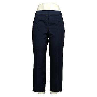 Susan Graver Women's Petite Pants Ponte Straight-Leg Pull-On Blue A345009
