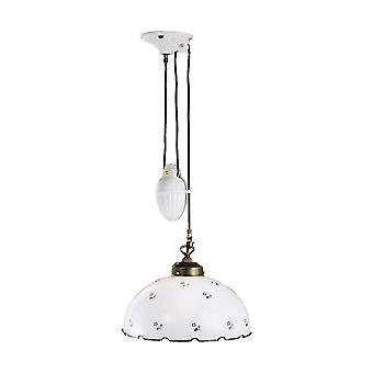 Casa de campo estilo cúpula de cristal colgante luz mate latón antiguo, 1x E27