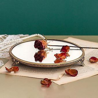 Estilo francês retrp vidro vintage espelhado bandejas decorativas com incrustação de ouro