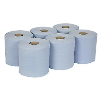 Sealey Blu150 papir Roll blå 2-trådet preget 150Mtr Pack 6