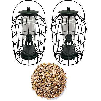 2 x Simply Direct Squirrel Resistant Guard Seed Feeders with 1KG Bag of Mixed Seed Wild Bird Feed