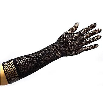 Elegant Long Gloves Halloween Party Stretchy Lace Gloves Black