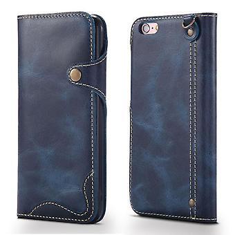 Slot per la custodia del portafoglio in vera pelle per samsung s10plus blu no4078