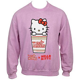 Hello Kitty x Cup Nudler Karakter Rosa Mineral Wash Sweatshirt