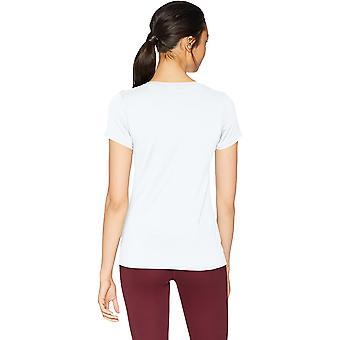 Brand - Core 10 Women's Fitted Run Tech Mesh Short Sleeve T-Shirt, White, Small