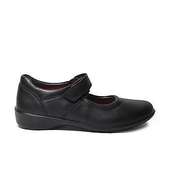 Ricosta Beth Medium Black Leather Girls Rip Tape Mary Jane School Shoes